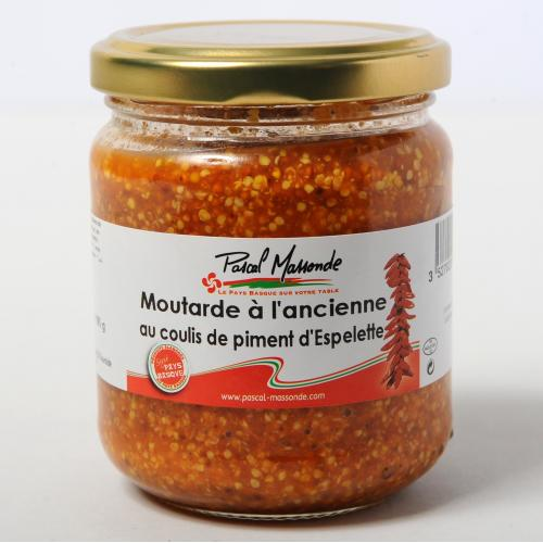 Moutarde à l'ancienne au coulis de piment d'Espelette