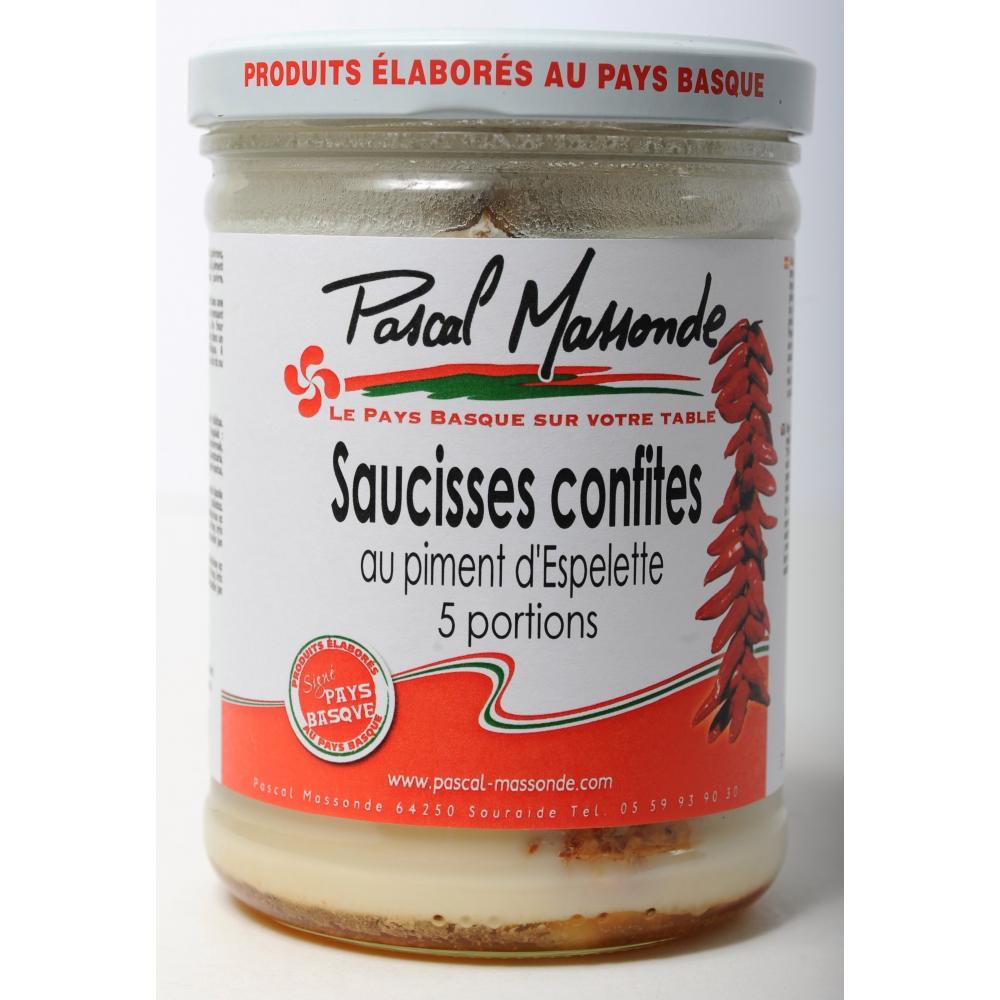 Saucisses confites au piment d'Espelette