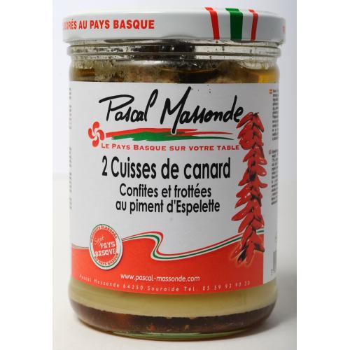 2 Cuisses de Canard Confites et Frottées au Piment d'Espelette - Verrines 750g