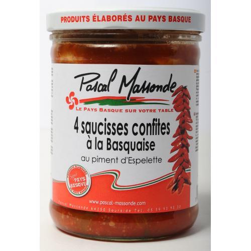 4 Saucisses Confites à la Basquaise - Verrine 750g